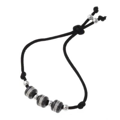 Bracelet en argent 925 et céramique noire pour femme, Tango