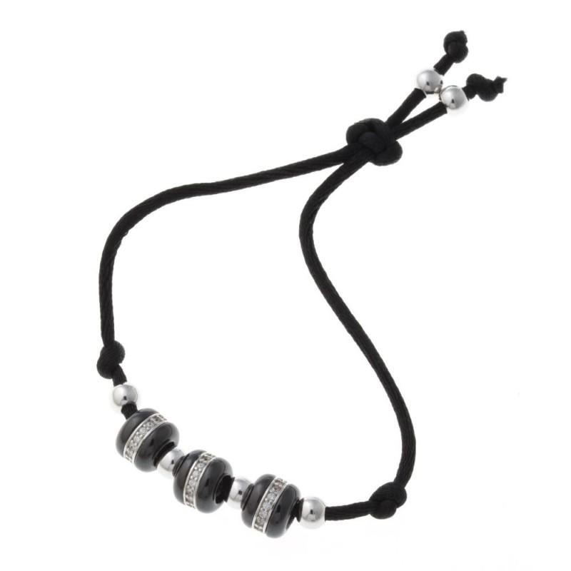 Bracelet cordon et céramique noire pour femme - Tango - Lyn&Or Bijoux