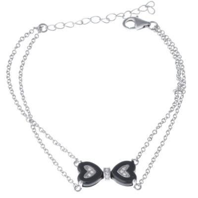 Bracelet coeur céramique noire pour femme, Bija