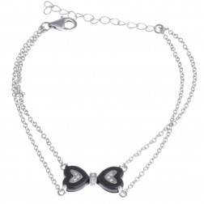 Bracelet coeur en céramique noire pour femme - Noeuds - Lyn&Or Bijoux