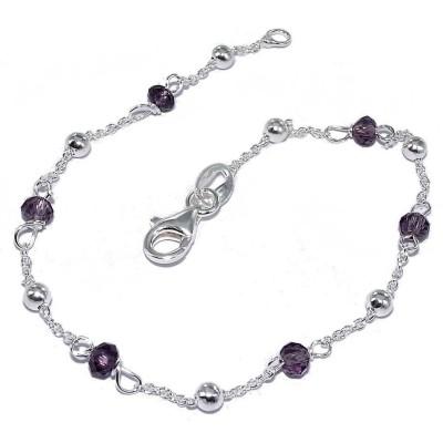 Bracelet de perles violettes et argent pour femme - Lenika - Lyn&Or Bijoux
