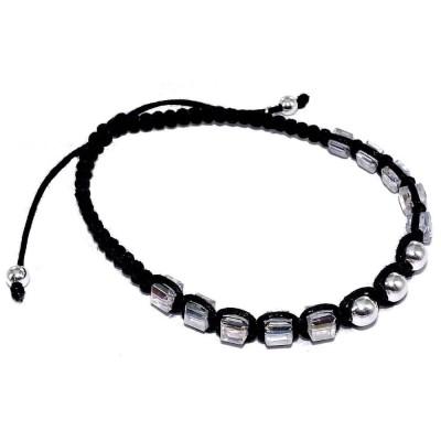 Bracelet cordon tressé, argent et cristal pour femme - Lanya - Lyn&Or Bijoux