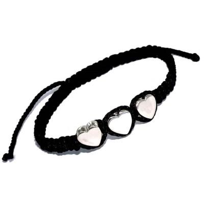 Bracelet coeur argenté et cordon tressé pour femme - Danya - Lyn&Or Bijoux