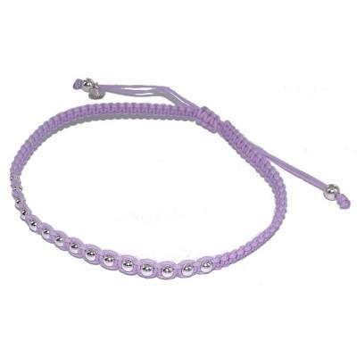 Bracelet cordon violet, perles argent pour femme - Kandara - Lyn&Or Bijoux
