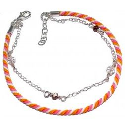 Bracelet cordon orange et argent - Chandara
