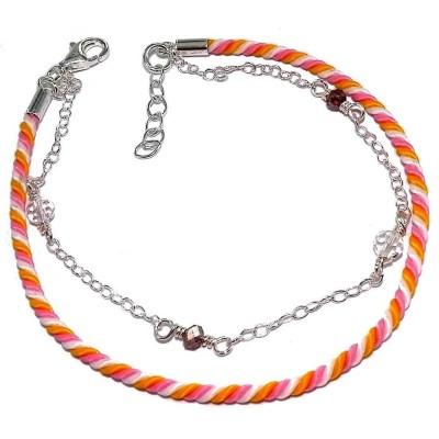 Bracelet cordon orange, rose et argent pour femme - Chandara - Lyn&Or Bijoux