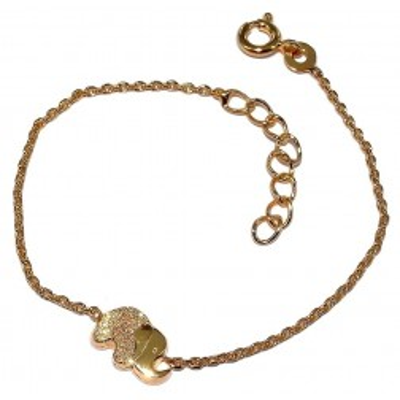 Bracelet enfant en plaqué or, zircon - Elephant