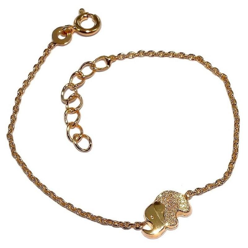 Bracelet pour enfant en plaqué or et zircon pour femme, Elephant