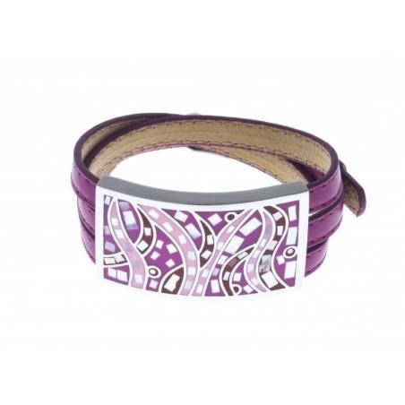 Bracelet Gamy's cuir violet, acier et émail Coloré, Gamy's