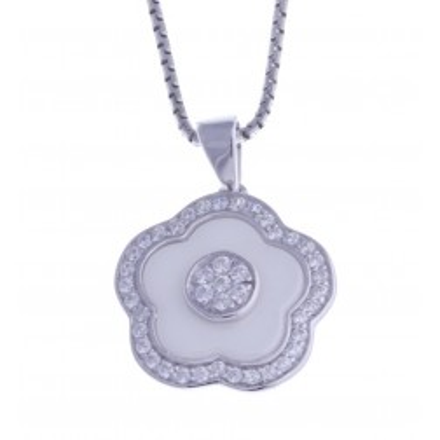 Collier en argent rhodié et céramique blanche femme, Marguerite