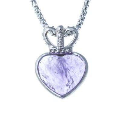 Collier coeur en argent 925 rhodié et améthyste pour femme, Laly
