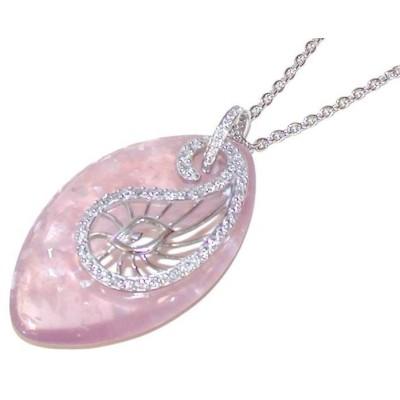 Collier de créateur original en argent 925 rhodié et résine rose pour femme
