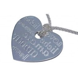 Collier à message, coeur argent pour femme - Around the World - Lyn&Or Bijoux
