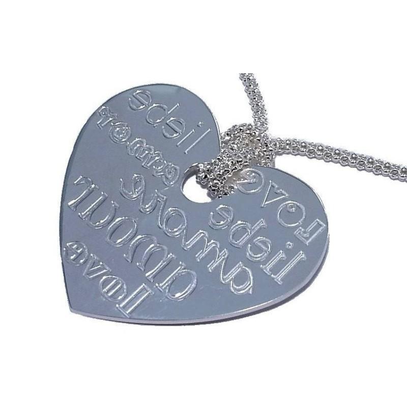 Collier coeur en argent 925/1000 pour femme, Around the World