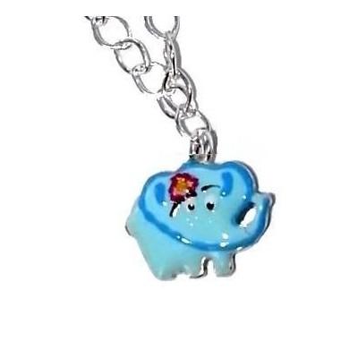 Collier en argent 925 et émail bleu pour enfant, Eléphant Joyeux