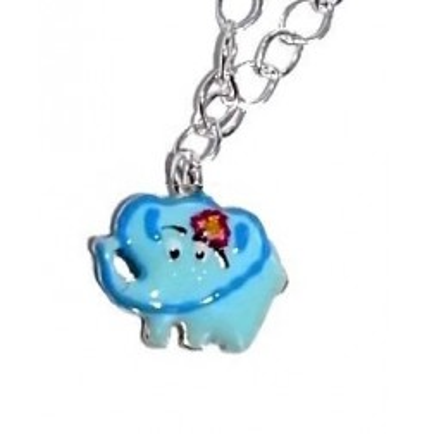 Collier enfant, argent, émail bleu - Eléphant Joyeux