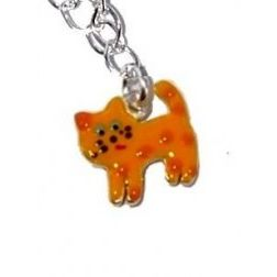 Collier enfant, argent, émail orange - Chat Polisson