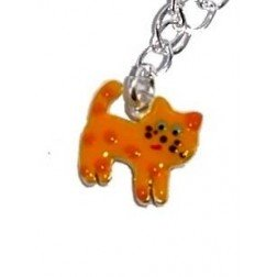 Collier enfant en argent et émail orange - Chat Polisson