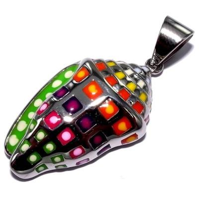 Pendentif multicolore en acier pour femme - Coquillage - Lyn&Or Bijoux