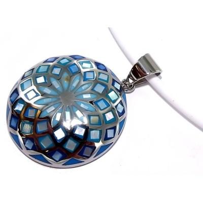 Collier acier et émail bleu pour femme, Rosace