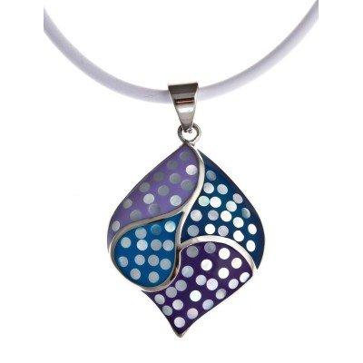 Collier en acier et émail violet pour femme - Gyma - Lyn&Or Bijoux