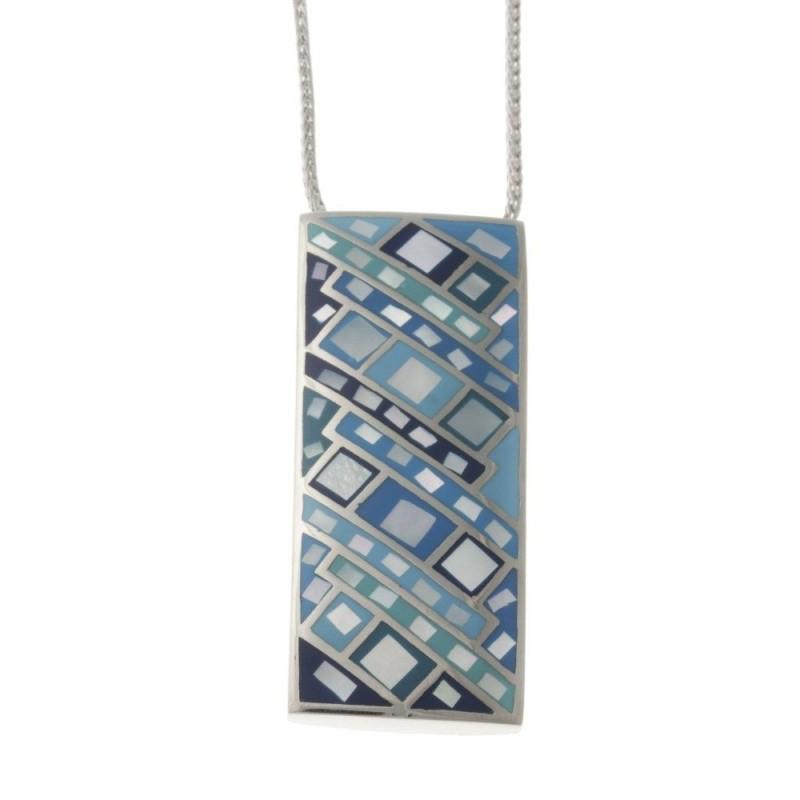 Collier createur original pour femme en acier avec pendentif bleu