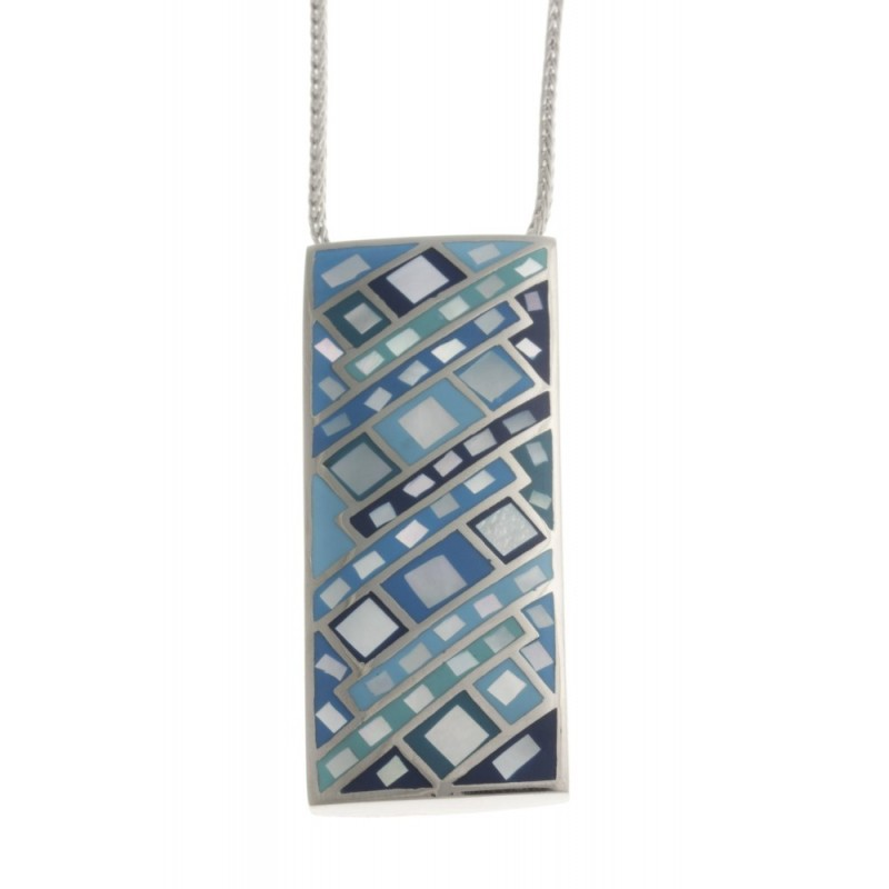 Collier créateur original en acier, nacre et émail bleu pour femme - Louna - Lyn&Or Bijoux