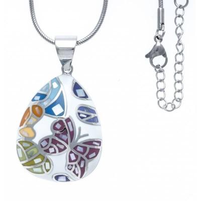 Collier et pendentif en acier pour femme - Papillons - Lyn&Or Bijoux