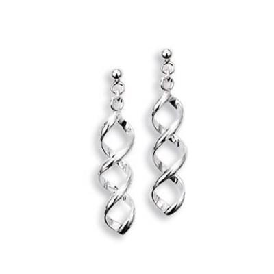 Boucles d'oreilles spirale en argent 925 millièmes pour femme, Tourbillon