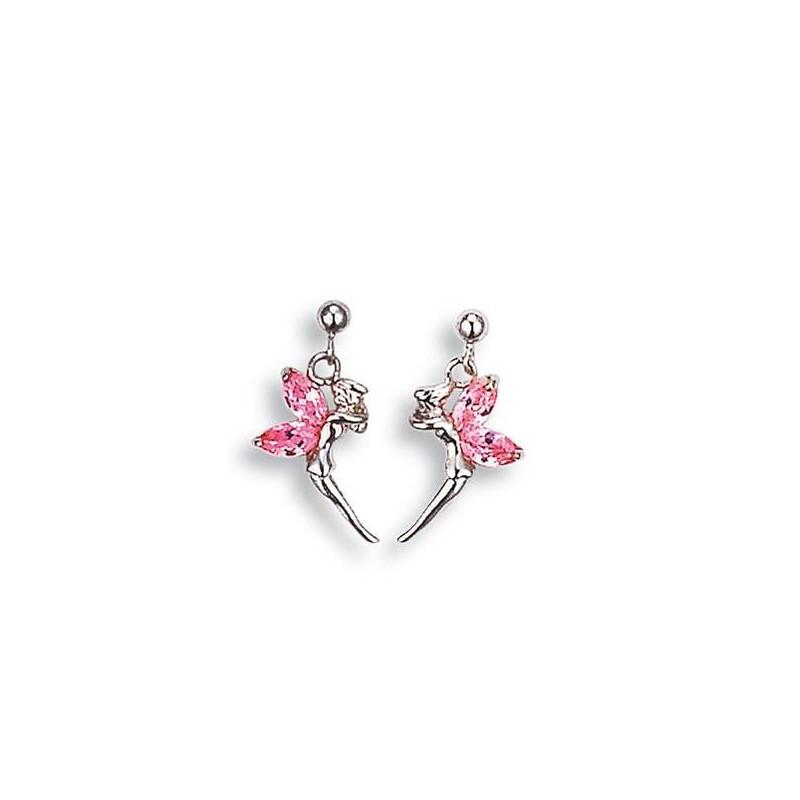 Boucles d'oreilles Fée clochette rose et argentée