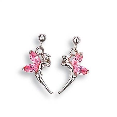 Boucles d'oreilles pierres roses et argent pour femme - Fée Clochette