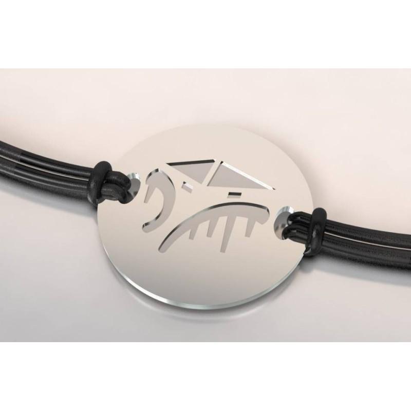 Bracelet créateur original mixte Cabane acier - argent