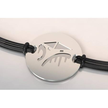 Bracelet créateur original Cabane acier, en argent 925