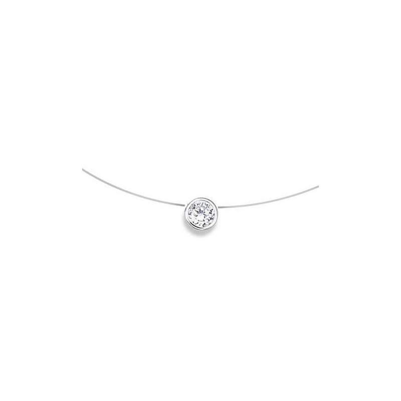 Collier femme pas cher, collier avec fil invisible en nylon et rond argent et zircon