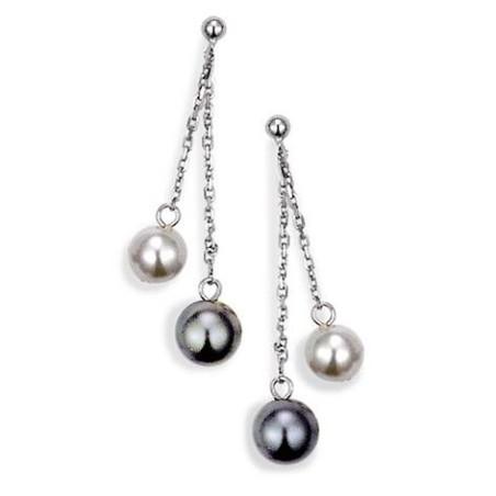 Boucles d'oreilles en argent 925 pour femme, Black and White
