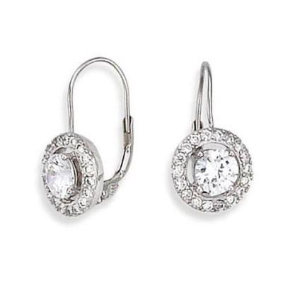 Boucles d'oreilles zircon solitaire et argent pour femme