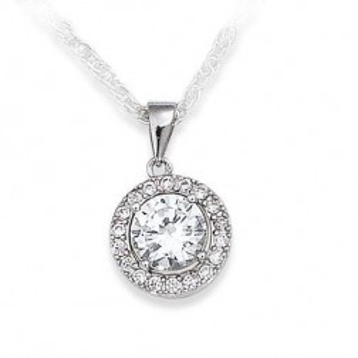 pendentif oxyde de zirconium et argent 925 millièmes - Bijoux Femme