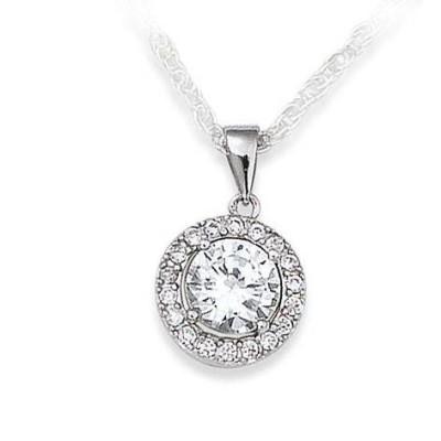 pendentif oxyde de zirconium et argent pour femme - Eclat de Lumière - Lyn&Or Bijoux