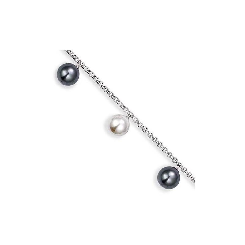 Gourmette de perles pour femme, Black and White