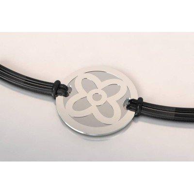 Bracelet jeton en acier et argent pour femme - Fleur - Lyn&Or Bijoux