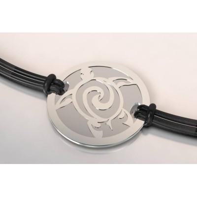 Bracelet de créateur en acier et argent - Tortue