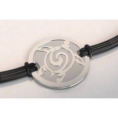 Bracelet de créateur en acier et argent pour femme - Tortue - Lyn&Or Bijoux