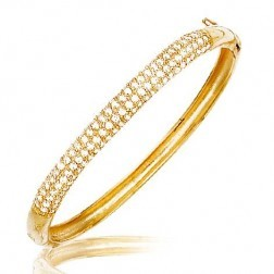 Bracelet jonc en plaqué or et zircon - Opéra