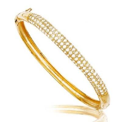 Bracelet jonc en plaqué or et zircon pour femme - Opéra - Lyn&Or Bijoux