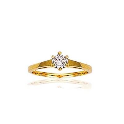 Bague solitaire en plaqué or, zircon pour femme - Douceur d'amour