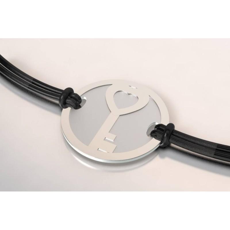 Bracelet de créateur en acier et argent pour femme - Clé - Lyn&Or Bijoux