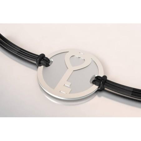 Bracelet de créateur en acier et argent - Clé