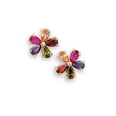 Boucles d'oreille femme, fleurs multicolores en plaqué or - Arc-en-ciel - Lyn&Or Bijoux