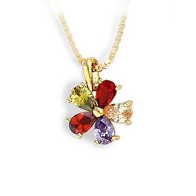 pendentif pour femme pas cher, fleur multicolore en plaqué or et zircon - Collier femme