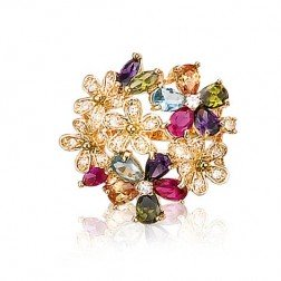 Grosse bague femme, fleurs multicolore en plaqué or & zircon - Eclat - Lyn&Or Bijoux